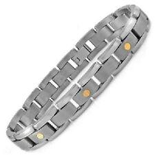 "Men's Solid Titanium Link Bracelet with Gold Screw Design 8.5"" 13mm 30g"