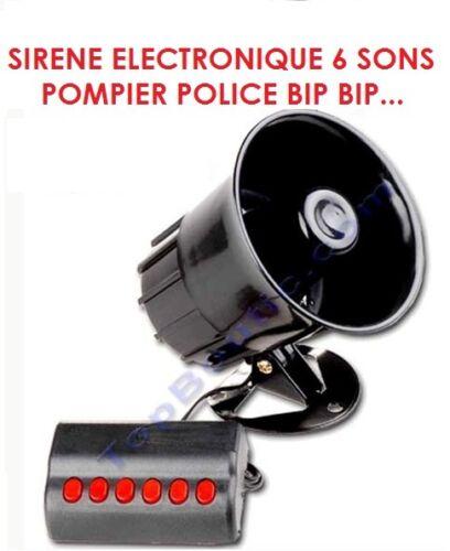 PUISSANTE SIRENE ELECTRONIQUE 6 SONS 130DB 24V POMPIER POLICE BIP BIP PROMO