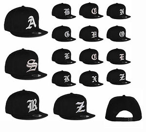 New Mens hat letter A - Z unisex Black hats baseball cap casual hat ... ceb46e56692