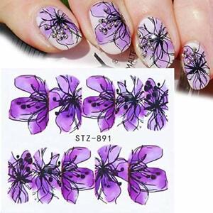 Nail-Art-Pegatinas-Transfers-Calcomanias-De-Agua-Primavera-Verano-Flores-de-color-purpura-floral-891