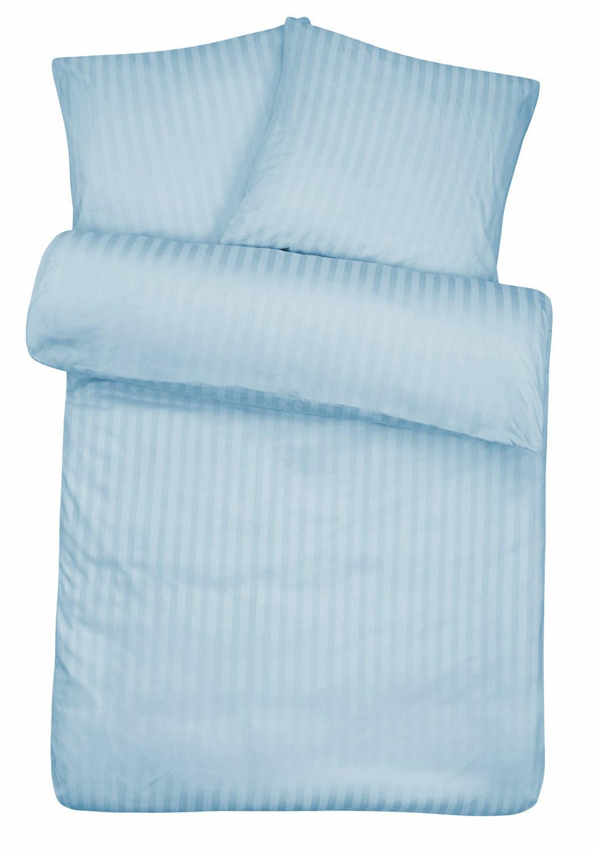 Bettwäsche 155 x 240 Damast Blau Baumwolle Hotel Bettbezug Garnitur Übergröße