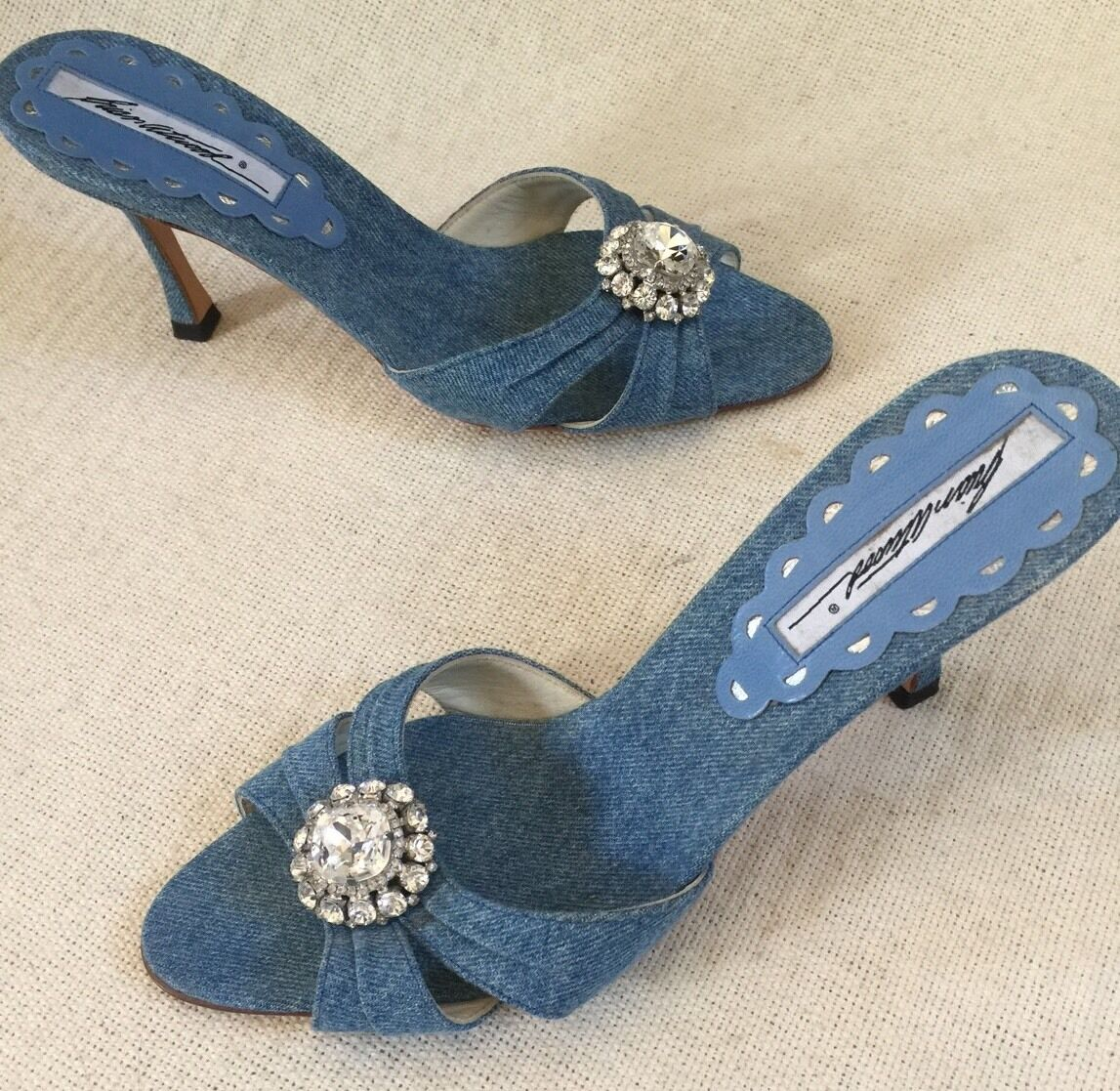 New Brian Atwood bluee Denim Peektoe Slides Heels Rhinestone Flower Accent sz 38
