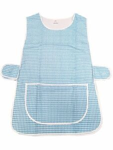 1-Ladies-Dog-Tooth-Tabard-Tabbard-Apron-Work-Overall-Anne-Aqua-All-Sizes