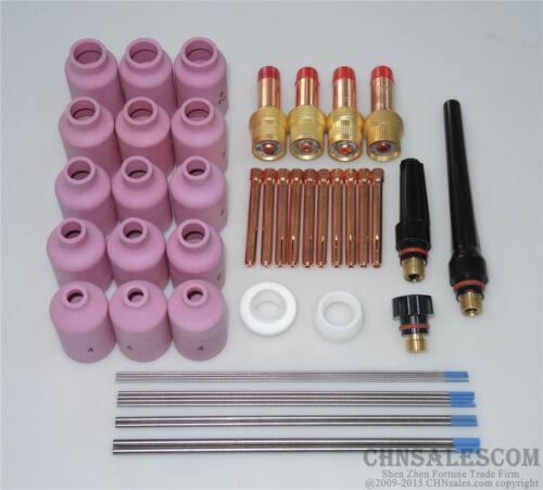 46 pcs TIG Welding Torch Gas Lens Kit WP-17 WP-18 WP-26 WL20 Lanthanate Tungsten