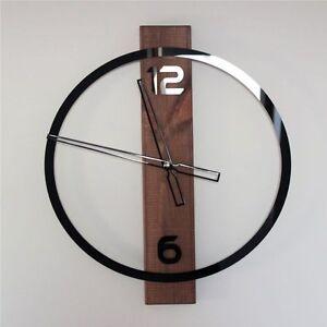 Moderne Grosse Wanduhr Uhr Quarz Holz Platte Acrylglas Schwarz