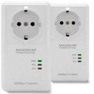 Maximum Powerline XO-500 S Dlan 500 Mbit/S Set Powerlan Adattatore Corrente Lan