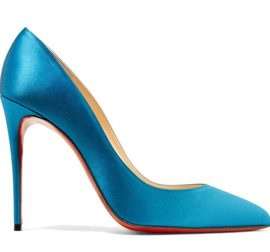NIB Christian Louboutin Pigalle Follies 100 bluee Positano Satin Heel Pump 37.5