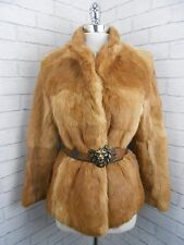 Vintage 1980s Ladies Foxy Auburn Red & Blonde Real Fur Retro Jacket Coat 10/12