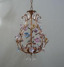 Vintage Italian Gilt Florentine Birdcage Porcelain Flowers Roses CHANDELIER