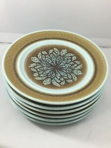 Lot-of-6-Franciscan-Earthernware-Nut-Tree-6-1-2-034-Bread-and-Butter-Plates-USA