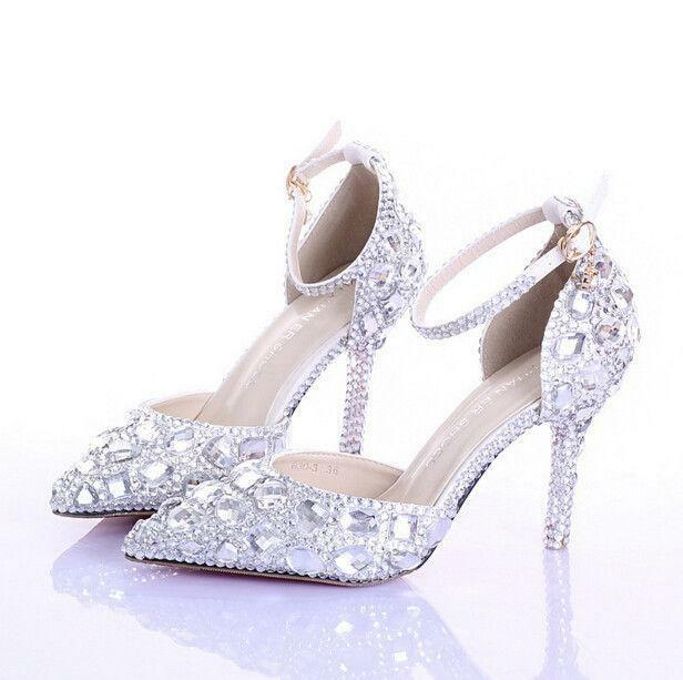 Wedding Ladies crystal pointed toe stiletto high heel Vogue pumps Womens shoes @