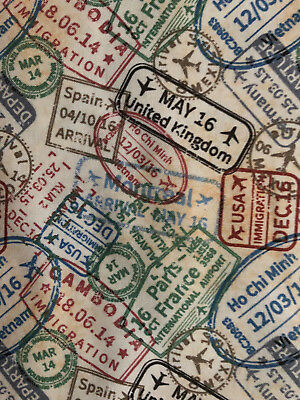 PASSPORT STAMPS POST MARKS TRAVEL INTERNATIONAL COLORS COTTON FABRIC BTHY