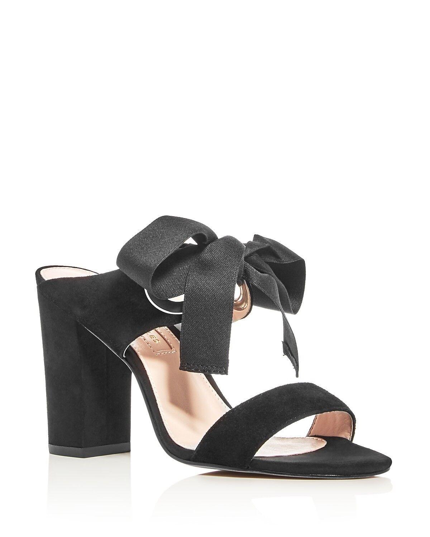 148 Dimensione 8.5 Avec Les Filles Megan Bow nero Suede Heel Slide donna Sandals