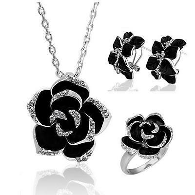 18k White gold GF wedding Necklace Ring Earrings Jewellery Set diamond Flower