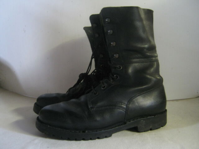 Austrian Army Leather Boots Black Used Combat Surplus High Leg Strong Military