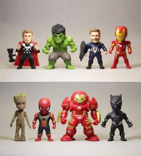 8pcs Marvel Avengers Infinity War Groot Hulk Hulkbuster Iron Spider Man Figures