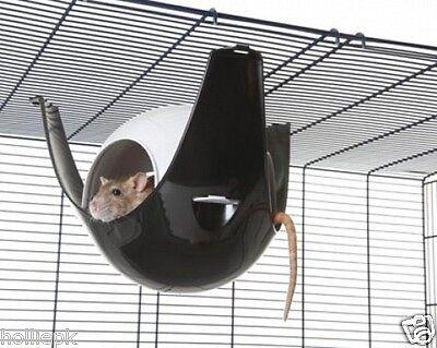SAVIC XL SPUTNIK PLASTIC RAT HOUSE HANGING HAMMOCK HOOKS ON WIRE CAGE PINK BLACK
