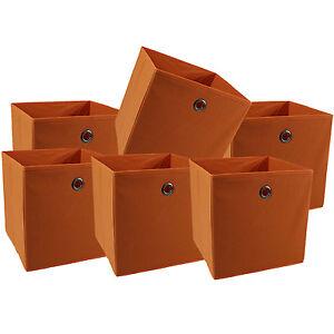 faltbox 6er set boxen pia farbe orange korb einschubkorb stoffbox kisten ebay. Black Bedroom Furniture Sets. Home Design Ideas