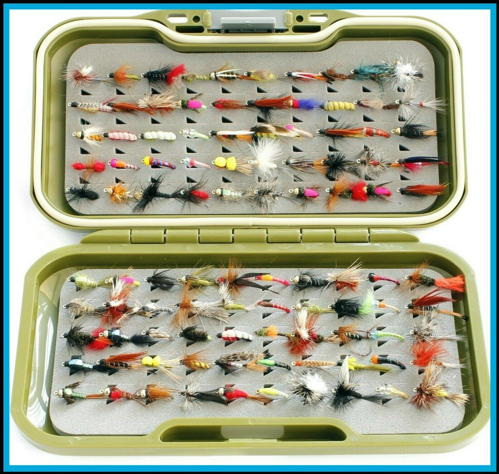 Fly Fishing Fly Box and Trout Flies Nymph Buzzers Dries Wet Trout Flies GV