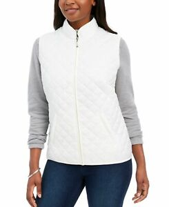 Charter Club Womens Puffer Vest Quilted Off White XL Sleeveless Pockets Zip Up