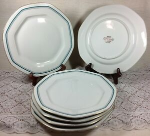 new products 3231f a1b4c Details about Tognana Porcellana D' Italia Gold and Aqua Dinner Plates Set  of 6 Made in Italy