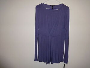 Daisy Fuentes * DFRM1819 Mock Wrap shirt * Lavendar/Purple L NWT