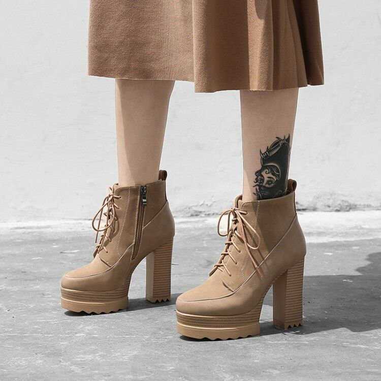 Womens Ankle Boots Suede High Block Heels Platform Retro Lace Up Zipper shoes