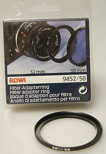 (prl) Rowi Anello Adattatore Filtro 52  58 Mm Filter Adapter Ring Adapterring CaractéRistiques Exceptionnelles