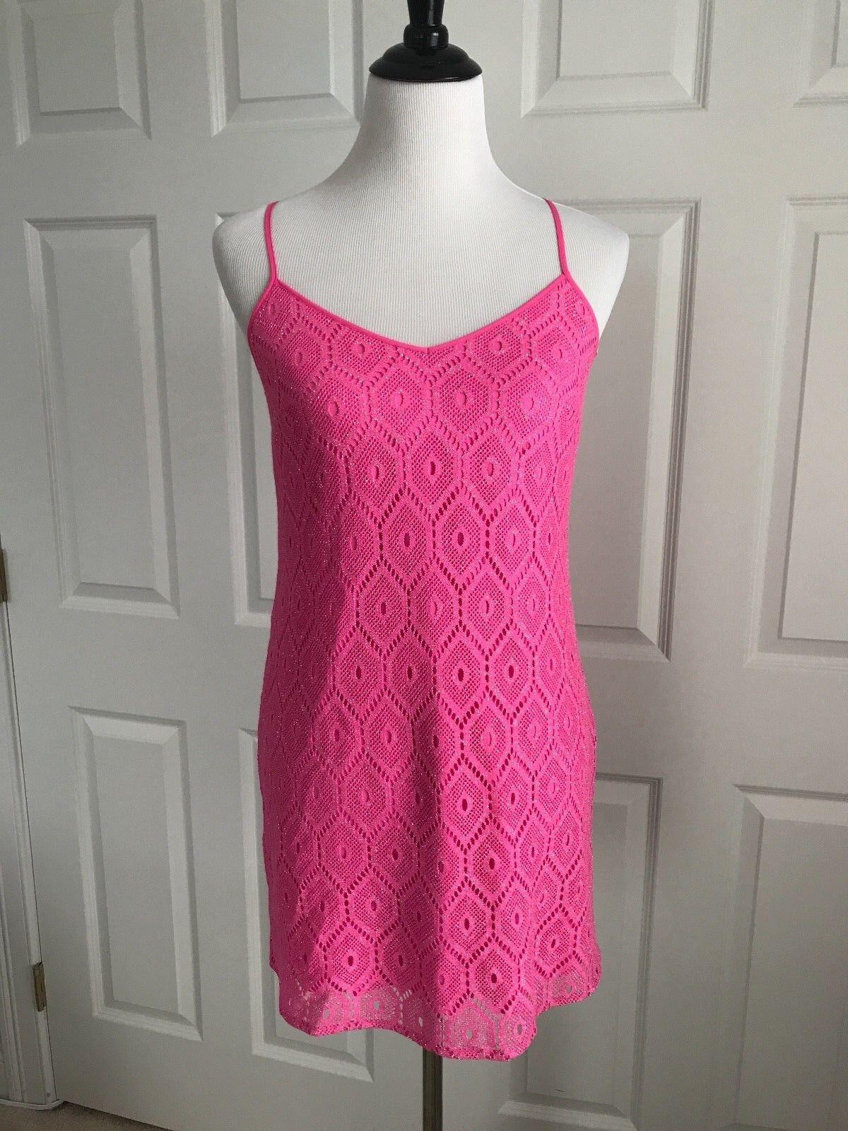 Lilly Pulitzer damen Dress Dusk Pop Rosa Metallic Sparkle Lace 10907 XS