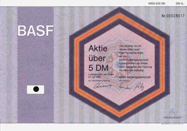 BASF AG 1996 Ludwigshafen Rhein Badische Anilin Soda Fabrik IG Farben 5 DM Deko