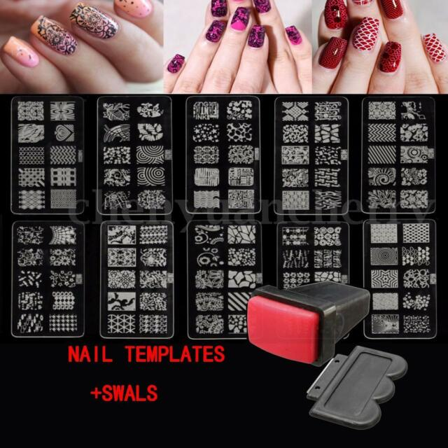 10 Design Nail Art Stamp Stencil Stamping Template Plate Set Tool ...