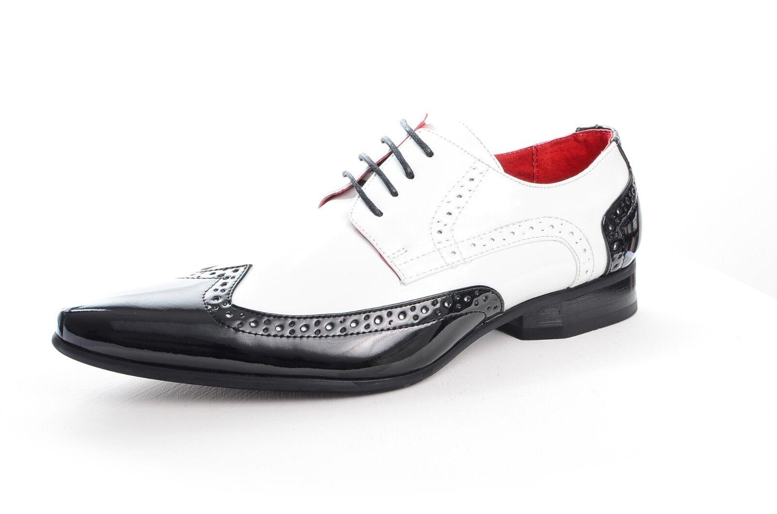 Mens Brogue Spat Dress Party Gangster Lace up Patent shoes Black White Size 7