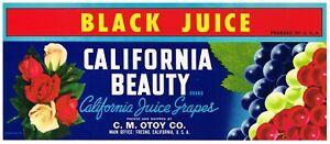 ORIGINAL 1950S CRATE LABEL VINTAGE CALIFORNIA GRAPE FLASH TYPOGRAPHY LIGHTHOUSE
