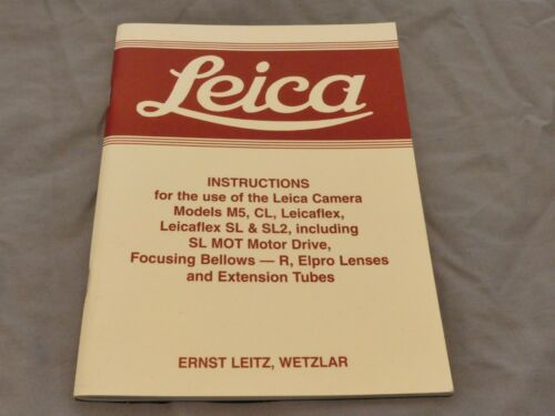 Genuino Original Leitz Leica instrucciones para M5 CL Leicaflex Leicaflex Sl Etc