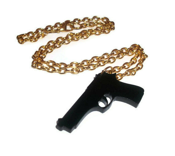 Black Gun Necklace, Laser Cut Weapon, Pistol Perspex, Quirky Kitsch Weapon