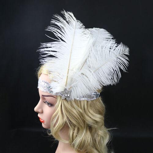 Vintage Feather Flapper Headband 1920s Great  Headdress Headpiece Costume