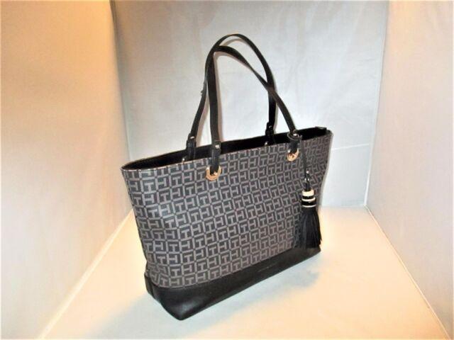c2e8f74a346 Tommy Hilfiger Handbag Grace Coated SHOPPER Tote Black / Pepper for sale  online | eBay