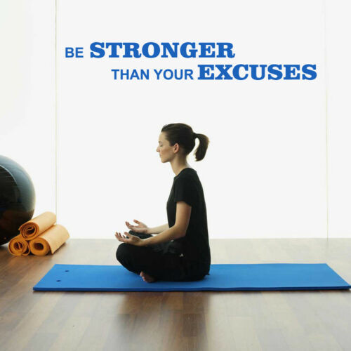 Be Stronger Than Your Excuses Words Gym Vinyl Wall Sticker Decal Kids Bedroom