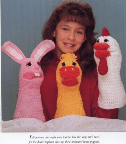 Bunny Chicken Duck Hand Puppets Vanna Crochet Pattern//Instructions Leaflet