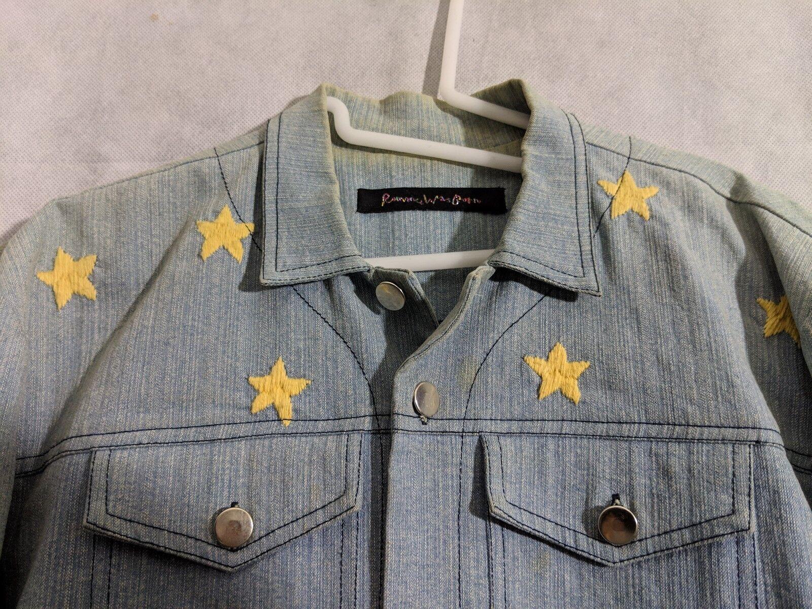 Romance Was Born Rainbow Denim Embroidered Jacket… - image 3