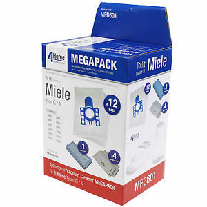 Microfiber-Bag-amp-Filter-Kit-Fits-Miele-GN-12pk-w-4-Filters-amp-1-Active-Hepa