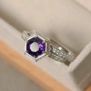 2.20 Ct Natural Diamond Amethyst Gemstone Ring 14K White Gold Band Sets Size M N