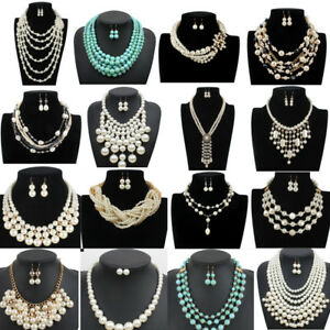 Women Necklace Pearl Crystal Stone Chain Chunky Choker Statement Bib Pendant New