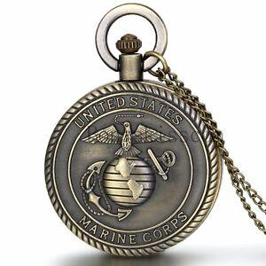 Men-039-s-Antique-Vintage-Bronze-United-States-Marine-Corps-Quartz-Pocket-Watch-Gift