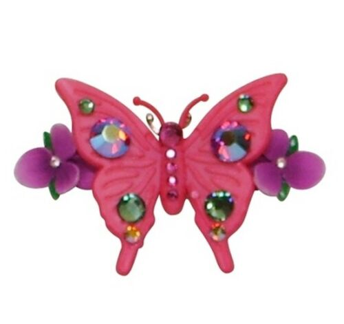 Tarina Tarantino Butterfly and Flowers Mini Hair Clip Pink ~Made in California~