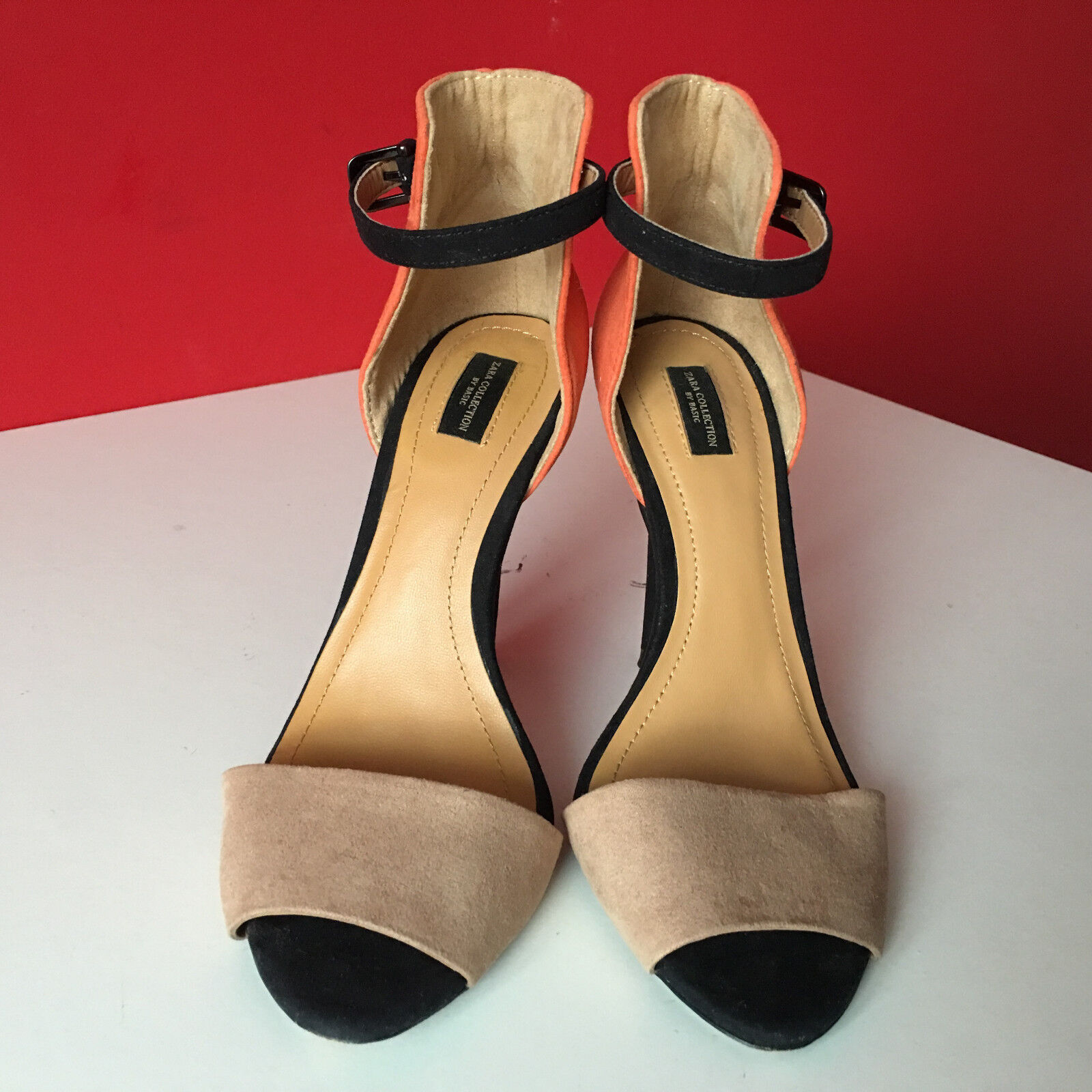 ZARA orange Nude Ankle Strap Heels Strappy Strappy Strappy Barely There Sandals UK 3 EUR 36 RARE 066b21