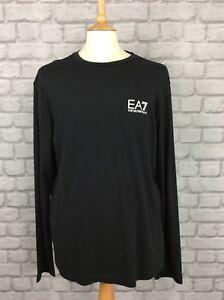 569799fbb4eb EA7 EMPORIO ARMANI MENS UK XXL BLACK LONG SLEEVE CREW NECK TEE TOP ...