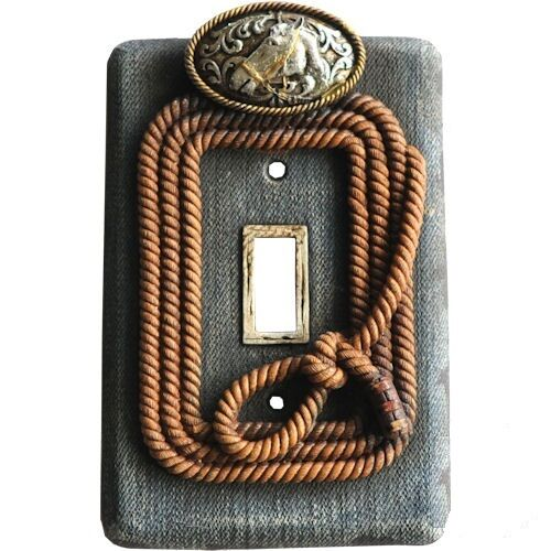 Western Wall Switch Plug Plates Outlet Covers Belt Buckle /& Blue Jeans
