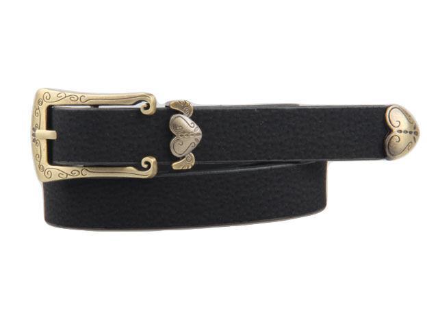 Women Vintage Retro Faux Leather Metal Bronze Heart Buckle Waist Belt Waistband