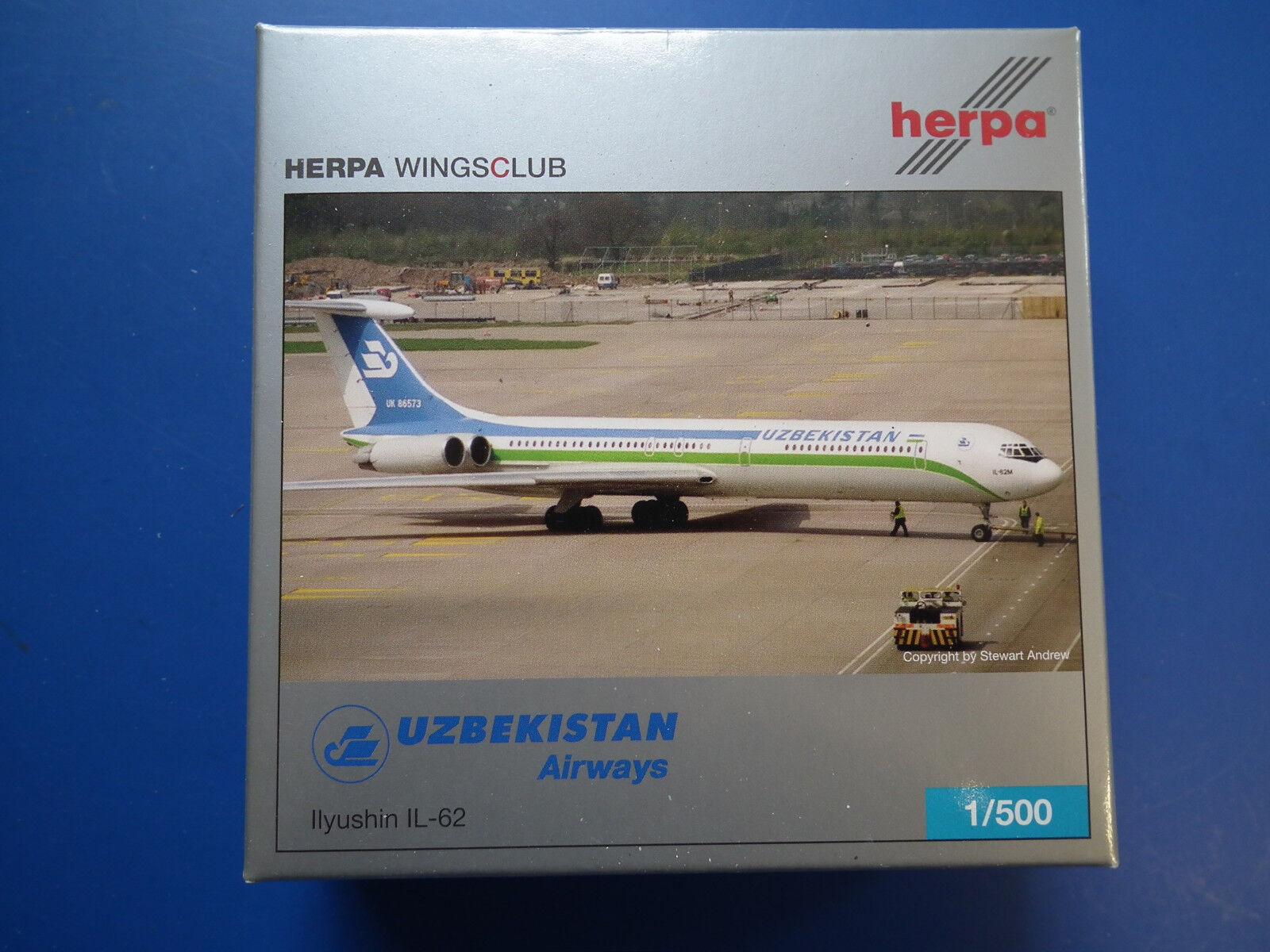 Herpa Wings Uzbekistan Airways Ilyushin IL-62 -505093-Lilited 2007-OVP -top-Blis  | New Product 2019